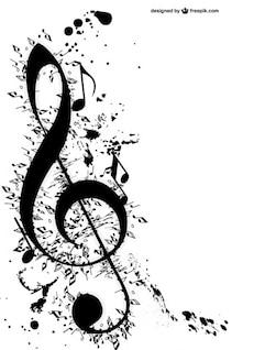 Clave de sol y notas musicales