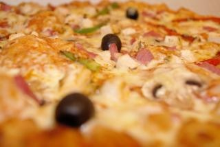 close-up de pizza