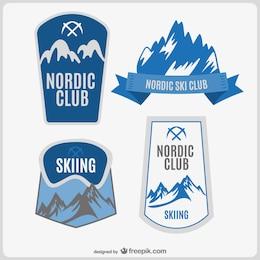 Club de esquí conjunto de logos