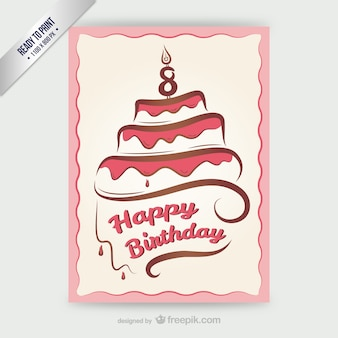 Tarjeta CMYK feliz cumpleaños con la torta