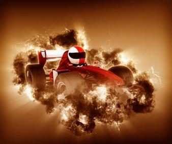 Coche de carreras 3d con humo