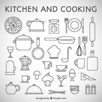 Cocina y cocinar iconos