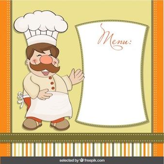 Cocinero divertido con plantilla de menú
