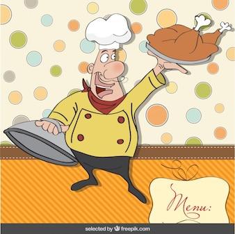 Cocinero feliz con el fondo del libro de recuerdos