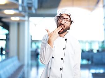 Cocinero loco expresión de enojo
