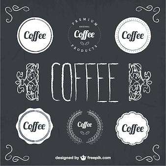 Etiquetas de café de estilo pizarra