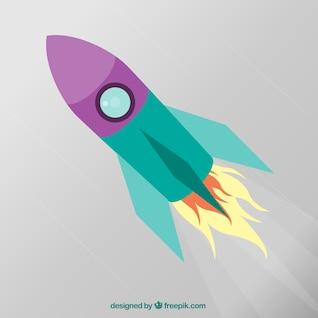 Cohete de dibujos animados en diseño plano