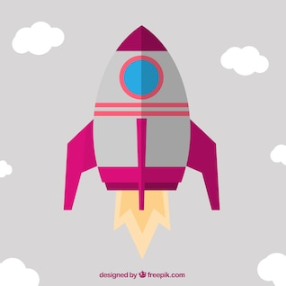 Cohete en diseño plano