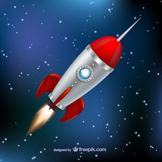 Cohete volando por el espacio