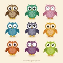 Colección búhos coloridos