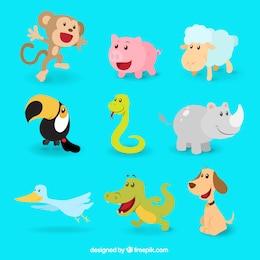 Colección de animales felices