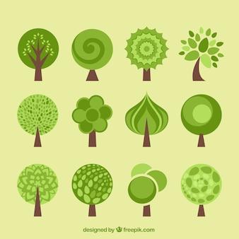 Colección de árboles en estilo diseño plano