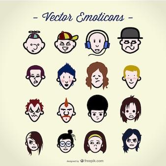 Colección de avatares a color