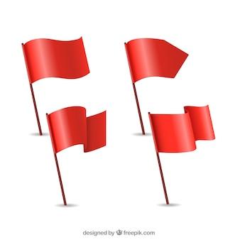 Colección de banderas rojas