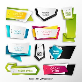 Colección de banners de origami brillantes