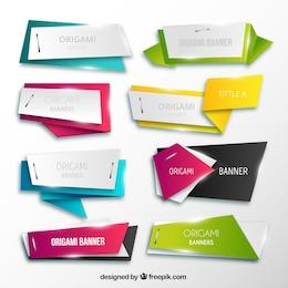 Colección de banners de origami