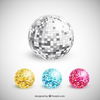 Colección de bolas de discoteca coloridas