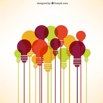 Colección de bombillas en diferentes colores