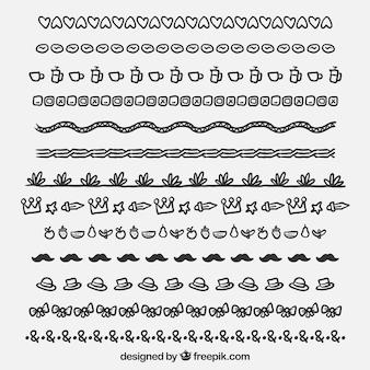Colección de bordes en estilo dibujo