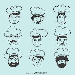 Colección de cabezas de cocineros