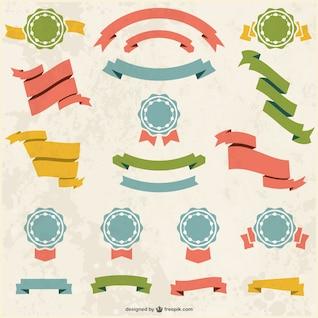 Colección de cintas de colores retro