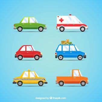 Colección de coches en estilo dibujos animados