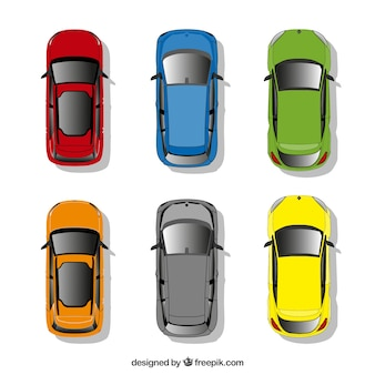 Colección de coches en vista superior