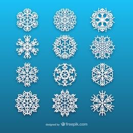 Colección de copos de nieve blancos