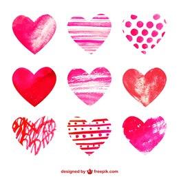 Colección de corazones de acuarela