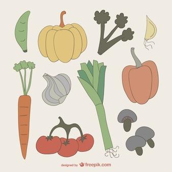 Colección de dibujos de verduras de colores