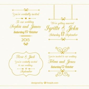 Colección de elementos de boda de oro