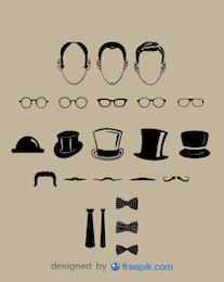 Colección de elementos de caballero de aspecto clásico vectorial