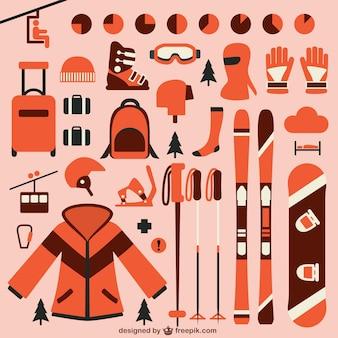 Colección de elementos de esquí