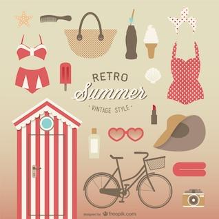 Colección de elementos de verano estilo vintage