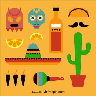 Colección de elementos gráficos mexicanos