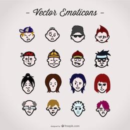 Colección de emoticonos a color