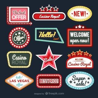 Colección de etiquetas de casino y tiendas