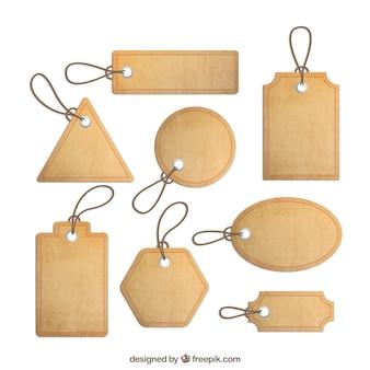 Colección de etiquetas de corcho