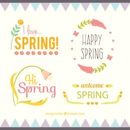 Colección de etiquetas de primavera