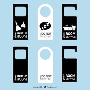 Colección de etiquetas de puerta de hotel