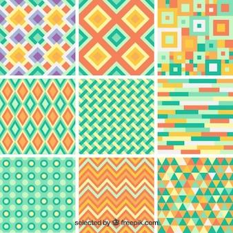 Colección de fondos abstractos en estilo geométrico