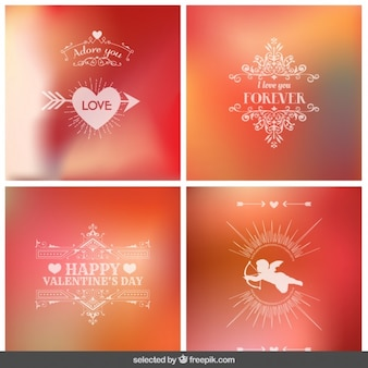 Colección de fondos borrosos para San Valentín