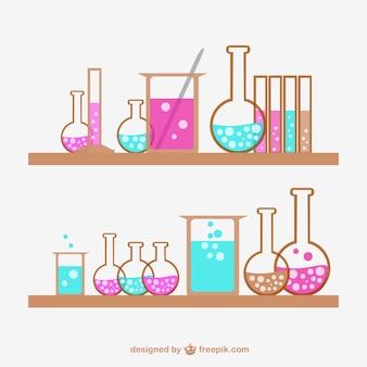 Colección de frascos de química