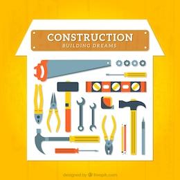 Colección de herramientas de construcción