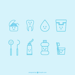 Colección de iconos de dentista