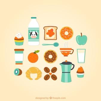 Colección de iconos de desayuno