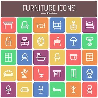 Colección de iconos de muebles