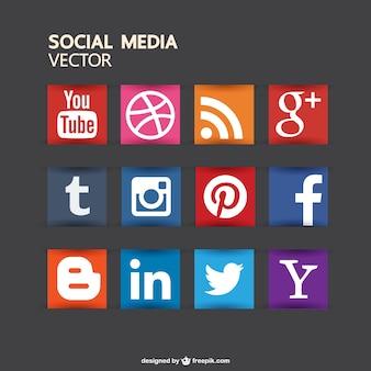 Colección de iconos de redes sociales a color