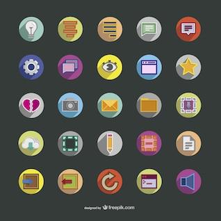 Colección de iconos redondos a color