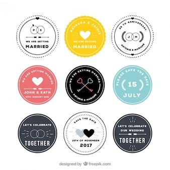 Colección de insignias circulares de boda